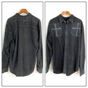 Affliction Washed Black Button Down Shirt